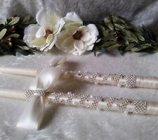 """18"""" Greek Orthodox Wedding Candle Lambathes Lambades Set Ivory Pearl Rhinestone"""