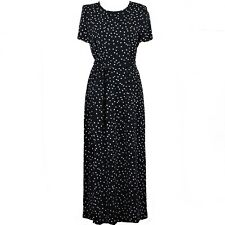WAREHOUSE Women's A-Line Long Black Dress Polka Dot Casual Size 8