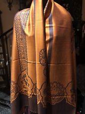 Vintage Style Knit Brocade Orange Pashmina Paisley Scarf Wrap Shawl