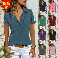 ? Unifarbe Damen Blues Sommer Kurzarm T-shirt Top Oberteile Freizeit Hemdbluse