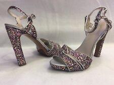 Nine West Hotlist Strappy Sandals Sz 7.5 M Glitter Platform Heels Stiletto Sexy
