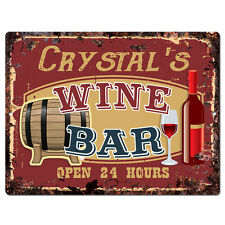 PWWB0102 CRYSTAL'S WINE BAR OPEN 24Hr Rustic Tin Chic Sign Home Decor Gift