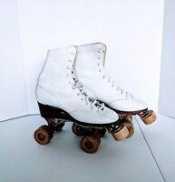 Vintage Retro Chicago 4 Women's Girls White Leather Roller Skates 76 wheels