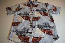 North River Mens Medium Vintage  Wood Motor Boats Print Button Front Shirt