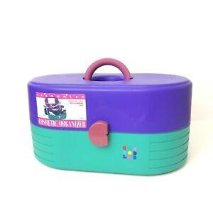 Caboodles 3 Tier Makeup Travel Case Mirror #2640 Purple Teal Vintage 80's 90's