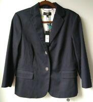 TALBOTS 12 Cotton 2 Button Lined Blazer Jacket Navy Blue Preppy Fall NWT $149