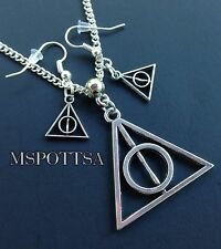 Harry Potter Necklace & Earrings Set Silver Deathly Hallows Symbol Cosplay cute
