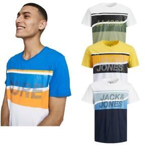 Men's Slim-Fit Crew-Neck T-shirts Jack & Jones Logo Short-Sleeved Cotton Tee Top