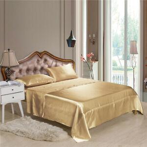 4pcs/Comfortable Satin Silk Fitted Sheet Bed Flat Sheet Set Bedding Set Pillowca