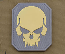 """PVC / Rubber Patch """"Subdued 3D Skull"""" with VELCRO® brand hook"""