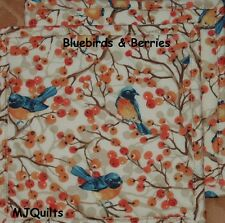 "T.T. ""Bluebirds & Berries""  Set of 2 (8"") Handmade-Quilted-Insulated-Hot Pads"