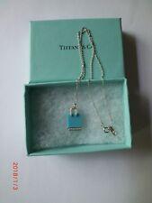 TIFFANY &Co. DIAMOND PLATINUM 18K TURQUOISE SHOPPING BAG NECKLACE