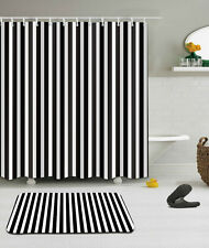 "Black White Stripes Shower Curtain Bathroom Mat Set Waterproof Fabric 72/72"" 676"