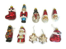 Lot of 10 Glass Christmas Tree Ornaments Glitter SNOWMAN SANTA Stockings Design