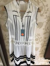 Karen millen white black cream dress NWT 10 cotton lace black underslip.