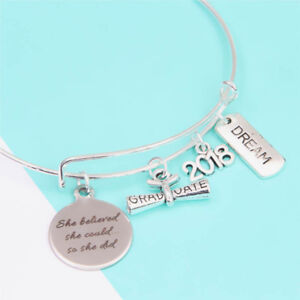 1PCS graduation -Bracelet she believe she could so she did silver tone bangles