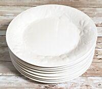 """Set of 8 Gibson Embossed Raised Fruit White Dinner Plates - 10 3/4"""""""