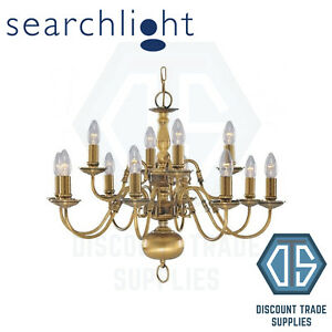 1019-12AB FLEMISH SOLID ANTIQUE BRASS 12 LIGHT CHANDELIER WITH METAL CANDLE