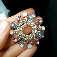 Vintage Faux Opal Pink Blue Lilac Diamante Gold Tone Brooch Starburst Paste