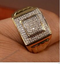 1. 1/2 Carat Diamond Square Engagement Band 14K Yellow Gold Men's Pinky Ring