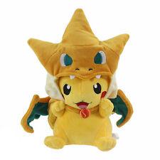 "Pikazard Pikachu Charizard Suit Hooded Cape Pokemon Plush Toy Stuffed Animal 10"""