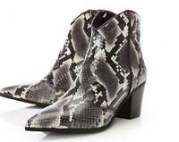 Moda In Pelle MUSELE  LEATHER  SNAKE PRINT ANKLE BOOTS HEELS EU38 UK 5 RRP £129