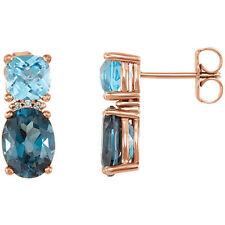 LONDON TOPACIO AZUL, Suizo Topacio Azul&Diamante Pendientes en 14k ORO ROSA