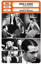 FICHE CINEMA : HEROS A VENDRE - Young,Barthelmess,Wellman 1933 Heroes For Sale