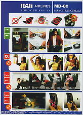 ITALI Airlines MD-80 italian airline SAFETY CARD alitalia style rare sc504 aa