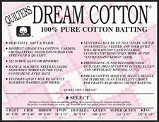 "Quilters Dream Select Natural Queen Size Batting~ 108"" X 93"" Cotton Mid Loft"