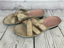 Clarks Artisan Womens Size 8 M Pink Beige Leather Slide Sandals Slip On 3f9
