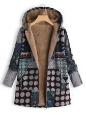 Veste longue manteau confortable doublé fourrure capuche dessins géométriques L