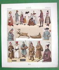 SWEDEN Raindeer Sledge Costume of Lapps Peasants - RACINET Color Litho Print