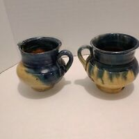 Vintage Pottery Pitchers Unmarked Handmade Blue And Yellow