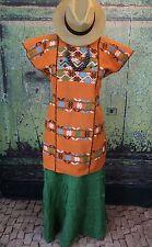 Orange & Multi-Color Huipil Amuzgo Hand Woven Oaxaca Mexico Boho Hippie Santa Fe