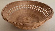 Vintage Wicker Woven Basket Wall Bowl Circle Round Boho Storage Decor