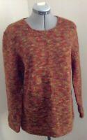 NWT Willie Smith Italy wool orange brown round neck tunic sweater XL