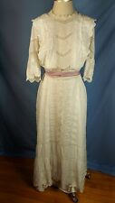 New listing Edwardian Dress With Embroidery, Insert Lace, Eyelet, Thread Buttons