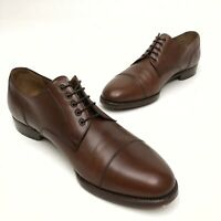 @ Men's SALVATORE FERRAGAMO Brown Leather Oxfords / Shoes Sz US 8D Dress Cap Toe