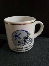 Vintage Nfl Dallas Cowboys Gold Rim Coffee Tea Mug Cup- Helmet w/ Blue Star Logo