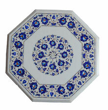 """18""""x18"""" Marble Coffee Tables Marquetry Mosaic Lapis Gem Inlay Home Arts Decor"""