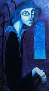 ORIGINAL Oil Painting canvas CONTEMPORARY ART,modern by V Pronkin, LADY in  BLUE