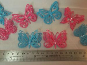 4 x Double Layered Die Cut Butterfly Embellishments Toppers Card Making Crafts
