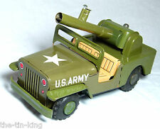 Assiette en tôle friction drive Jeep Kanto toys Japon C1950S Anti Aircraft Gun