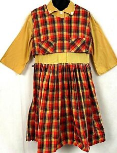 Vintage 1950s School Girl Dress Plaid Yellow 2 Piece Vest Autumn Fall Button 10
