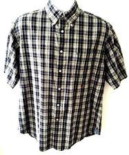 Tommy Hilfiger Men's M Medium Button Cotton Shirt Navy White Plaid Trim Fit SL