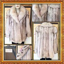"BEAUTIFUL Natural Blue Fox Fur Stroller Coat 30"" Length Coat Shawl Collar"