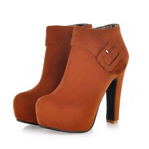 Women's Ankle Booties Platform Round Toe Suede Chunky Heel Zip Boots US 6 Brown