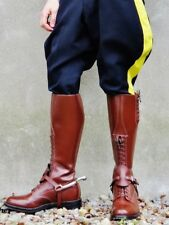 Men Motorcycle Tall Mounted Police Biker LEATHER Boot Handmade UK 5-12