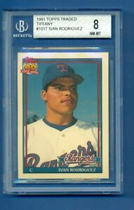 1991 Topps Traded Tiffany Ivan Rodriguez RC BGS 8